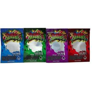 Dank gélifiés 500MG Mylar Sac Comestibles Retail Zip verrouillage Emballage Worms Bears Cubes Gummy Secs Herb Vider le sac corde de nerds VS Cookies