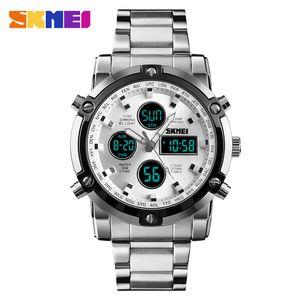 Herrenuhren Dual Display LED Digital Wasserdichte Full Steel Quarzuhr Herrenuhr Relojes skmei 2020