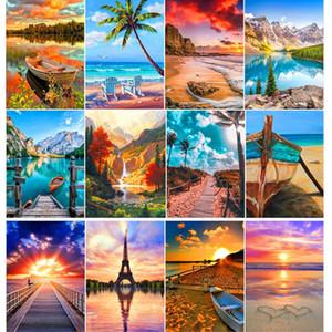 Göl Sunshine Tekne Peyzaj Mozaik Ev Dekorasyon Hediye Boyama Tam Elmas Manzara Elmas Nakış Takımı 5D DIY Elmas
