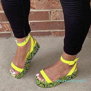 RIBETRINI Mujeres Moda punta abierta Zapatos de la impresión de la serpiente tobillo de las mujeres t02 correa hecha a mano Dropshipping sandalias del ocio caliente sandalias