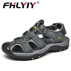 Fhlyiy New Big Size Genuine Leather Cowhide Men Sandals 2020 Summer Quality Beach Slippers Casual Sneakers Outdoor Beach Shoes