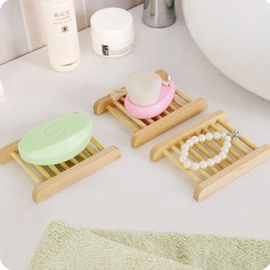 Natural Bamboo Trays Wholesale Wooden Soap Dish Wooden Soap Tray Holder Rack Plate Box Container for Bath Shower Bathroom KHA328