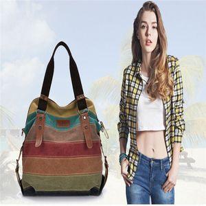 Canvas Bag Tote Striped Women Handbags Patchwork rainbow Shoulder Bag New Fashion a Main Femme De Marque Casual Bolso