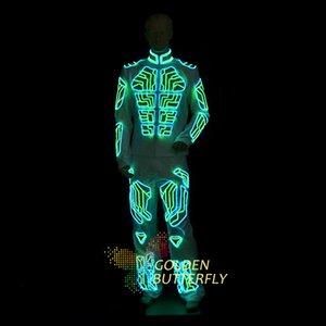 LED Vêtements lumineux Vêtements Vêtements Illuminated Glowing Robot Danse Costumes Lumière Hommes EL lumière froide Parti Suits LED