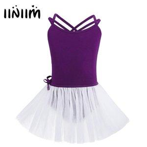 Bağlı Etek ile iiniim Kızlar Lirik Dans Kostümleri Spagetti Omuz sapanlar Bale Dans Jimnastik Leotard Tutu Dancerwear