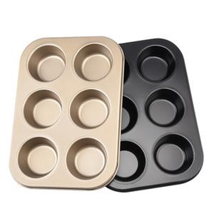 Ovenware Muffin Pan Heavy Duty en acier au carbone antiadhésifs 6 Coupe Cupcake Moule de cuisson Casseroles Bakeware Or / Noir JK2007XB