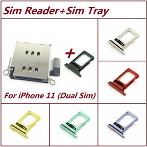 Titular nueva OEM doble lector de tarjetas SIM ranura de la bandeja del zócalo con Flex + Dual Sim bandeja para el iPhone 11 Single Dual