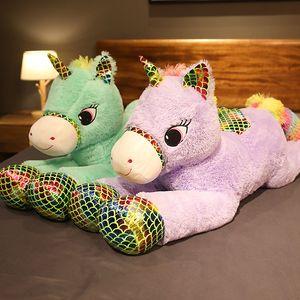 Festa de aniversário presente de Natal bonito do unicórnio do anjo Plush Toy Big Pegasus Plush Doll animal Cartoon Doll Crianças Pillow menina Decoração do quarto