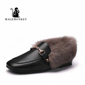 MALEMONKEY Designers 2020 nuovi pattini delle donne di modo signora di gomma nero Winter Snow Boots Nero Mocassini inverno pelliccia piatto FdDL #