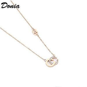 European and American fashion titanium steel gold-plated zircon necklace fashion accessories luxury birthday gift