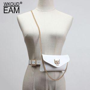 WKOUD EAM 2020 새로운 금속 체인 가죽 벨트 가방 여성 빈티지 인기의 shiney 코르셋 벨트 고품질 브랜드 타이드 PF368