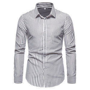 SZMXSS Shirts For Men Casual Slim Fit Striped Social Long Sleeve Clothing Business Brand Dress Male Shirts Classic Button Tops CX200803