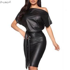 New Women Pu Leather Mini Dress Sexy Black Crew Neck Wet Look Bodycon Bandage Party Club Mini Dress