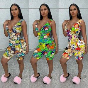 women jumpsuits rompers Summer womens printed jumpsuit tights hip zipper jumpsuit shorts Women Designer Clothes S-XXL
