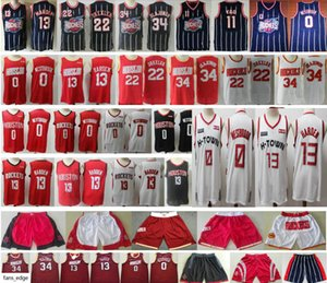 2019-20 New HoustonRocktes James 13 Harden Jersey Russell 0 Westbrook Red White Clyde 22 Drexler Hakeem 34 Olajuwon Basketball Jerseys