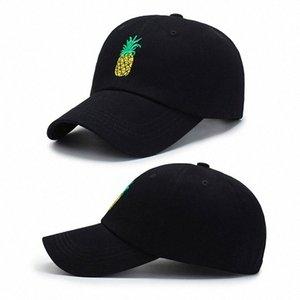 Sıcak 2019 Trendy Tek Ürün Ananas İşlemeli Beyzbol şapkası Komik Taze Meyve Hipster Şapka Ananas Baba Şapka Beyzbol şapkası awWG #