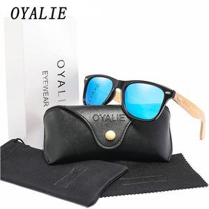 OYALIE Bamboo Sunglasses Women 2019 Polarized Wood Square Sun Glasses Men Mirror Glasses Reflective Driving Eyewears UV400