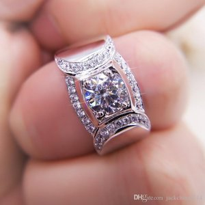 Victoria Wieck Size 8 9 10 11 12 13 Luxury Jewelry 925 Sterling Silver Round Cut White Sapphire CZ Diamond Wedding Engagement Band Ring Gift