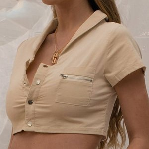 women casual t-shirt cotton turn-down collar single button crop top zipper pocket fashion vacation clothes