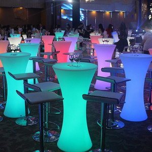 2019 New Led Luminous cocktail tabl Round High Foot Bar Table For Night Club Coffee Shop Creative Lighting Furniture