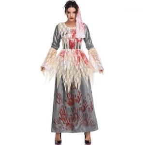 Vampire Ghost Bride Dress Woman Halloween Lace Patchwork Flare Sleeve Dresses Women Cosplay Fashion Costume Womens