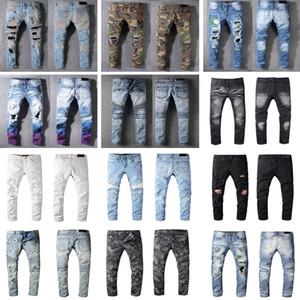 Проблемные Франция Мода Пьер прямые джинсы мужские джинсы Байкер Hole Stretch Джинсовые Повседневный Жан Мужчины Узкие брюки Эластичность рваные брюки