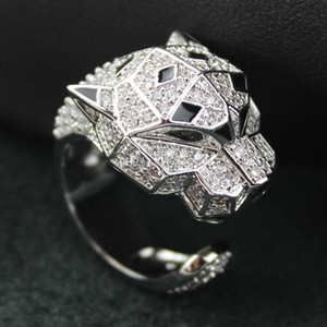 New arrival Silver Leopard rings for women big animal leopard head rings prong setting Cubic Zirconia for party famale ring