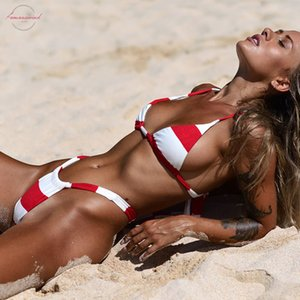 Folok Sexy Swimwear  Halter Brazilian Set With Broad Red And White Stripes Classic Low Waist Biquin G String Swimsuit