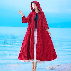 Enchanting 2019 season new wine red literary hat cloak women's cotton linen tassel embroidered coat Cloak embroidery coat embroidery