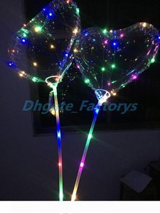 Love LED Balloon Lighting Transparent Bobo Ball Love Heart Shaped Line String Balloons With Stick Wedding Birthday Party Decoration hot 100p