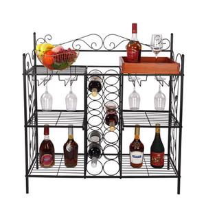WACO Multi-Function Freestanding Wine Racks | 6 Metal Shelves 12 Wine Bottle Rack 12 Glass Holders, Wine Storage Stemware Racks Table Black