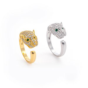 Exquisite diamond inlaid serpentine leopard head ring full of diamond mouth exaggeration personality fashion ring decoration jewelry