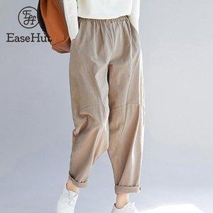 EaseHut Loose Women Vintage Calças elástico na cintura Pockets Casual Cotton Retro linho Harem Streetwear Calças Sólidos calças Feminino