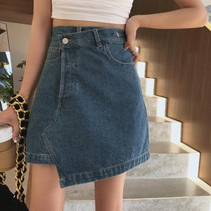 2020 New Fashion Ins Spring Summer Women Irregular Denim Shorts Casual A-Line High Waist All-Match Mini Skirt Streetwear S84