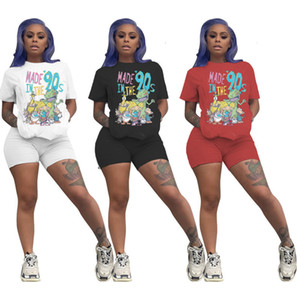 Women 2 Piece Set Sportswear Pure Color Cartoon Printed Short Sleeved shorts Suit Designer Summer shorts Casual Jogging Outfits Cy789