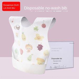 Doraidobo baby waterproof non-woven Non-woven bib Saliva towel saliva towel Disposable bib waterproof anti-dirty 10-piece pack 6222