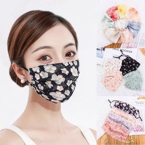 Ladies Ice Silk Sunscreen Máscara fina lavável Primavera-Verão Boca máscara máscaras mulher respirável cara Floral