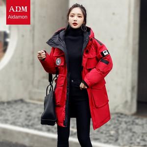 mlZpL Adanmeng вниз куртка для женщин 2020 новый средней длины для мужчин и женщин того же типа утолщенной пуховик рабочая одежда рабочей одежды пальто