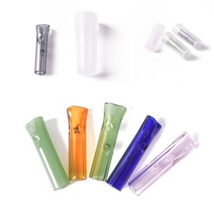 Flat Mouth Cigarette Holder Round Mouthtips Clear Glass Tube Pipe Filter Tips For Smoking Dry Herb Accessories 1 2ds E1