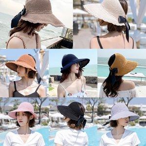 Women's 2020 new summer fisherman's Bucket toque Straw toque outdoor sun-proof sunshade empty hat folding straw hat for women