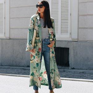Women Summer Kimono Cardigan Long Sleeve Floral Print Rash Guards Boho Beach Cover Ups Plus Size Ladies Long Blouse Shirts Blusa Y200622