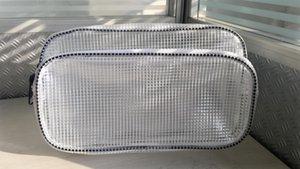 OLJgB 27*17*10 small grid resin anti-static PVC dust-free running bag 27*17*10 Korean small grid Korean resin zipper zipper anti-static PVC