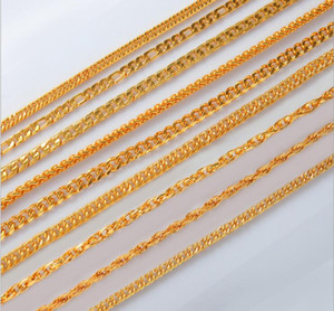 Men's 18K gold necklace bracelet Jewelry Set plating gold 8MM 9MM 10MM 12MM*60CM 9 style selection Side chain Twist chain Cuba chain