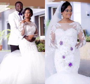 New Arrival Mermaid Long Sleeves Wedding Dress Lace Garden Bridal Gown Plus Size Custom Made Vestios De Novia
