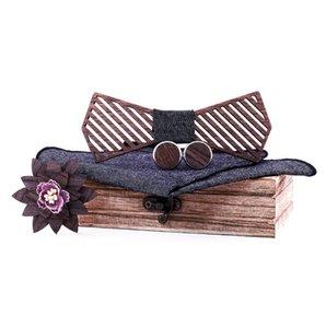 Tira Bowtie madeira do arco de madeira Tie Handkerchief Set Homens entalhada e Box Bow Tie Bowtie Ties For Men Gravata Cravate Black Tie