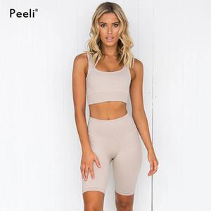 Peeli 2Pcs Бесшовные Женщины Йога Set Sports Bra высокой талией Спорт гетры Gym Одежда Спортивный костюм Короткие Gym костюм Фитнес наборы Женщина