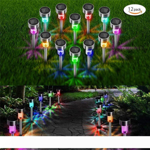12pcs Batch LED Stainless Steel Solar 3.7 V Lawn Outdoor Solar lamp IP65 Waterproof Cover Lamp Garden Landscape Lawn lights