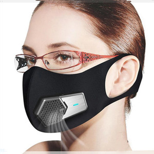 New Smart Electric Fan Masks PM2.5 Dustproof Mask Anti-Pollution Pollen allergy Breathable Face Protective Cover 4 Layers Protect