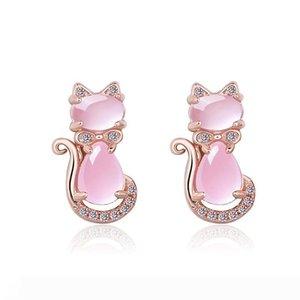 Trendy 925 Silver Earrings Cat Shape Pink Rose Quartz Zircon Gemstones Jewelry Stud Earrings for Women Wedding Wholesale
