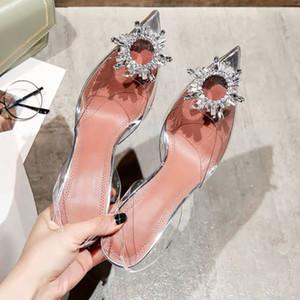 Sivri burunlu Kadın şeffaf sandalet su elmas sexy Baotou topuklu 2020 yeni bir kelime Xia